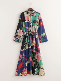 Women's Flower Printing Belted V-neck Dress Nihaostyles Clothing Wholesale NSAM78156