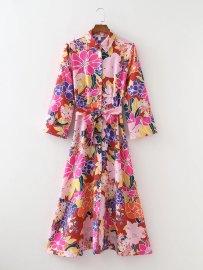 Women's Drape Print Straight Belt Decoration Midi Dress Nihaostyles Clothing Wholesale NSAM78157