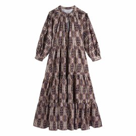 Women's Printed Long-sleeved Dress Nihaostyles Clothing Wholesale NSAM78160