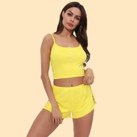Women's Sling Short Lace Pajamas Suit Nihaostyles Wholesale Clothing NSRBL78166