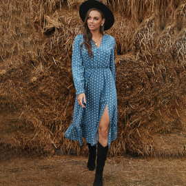 Women's Wave Dot Printing V-neck Long-sleeved Hedging Slit Dress Nihaostyles Clothing Wholesale NSQSY78175
