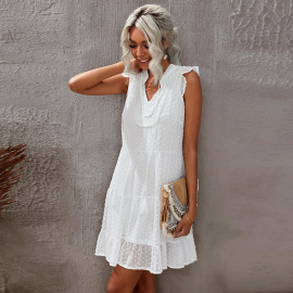 Women's Embroidered Tulle Fake Two-piece Loose Sleeveless V-neck Dress Nihaostyles Clothing Wholesale NSQSY78177